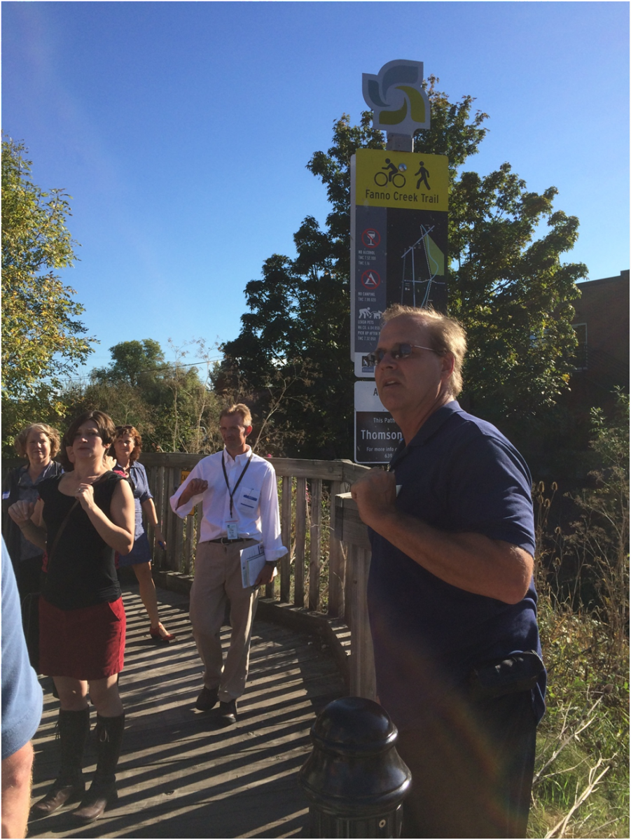 City Councilor leading a tour in Tigard, OR