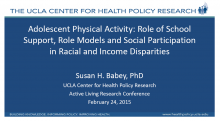 Adolescent Physical Activity: Role of School Support, Role Models and Social Participation in Racial and Income Disparities
