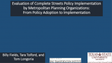 Evaluation of Complete Streets Policy Implementation by Metropolitan Planning Organizations: From Policy Adoption to Implementation