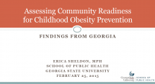 Assessing Community Readiness for Childhood Obesity Prevention: Findings from Georgia
