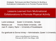 Strategies, Techniques and Best Practices for Building a Multinational Collaboration to Promote Physical Activity