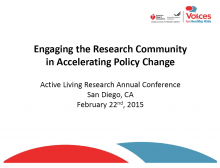 Engaging the Research Community in Accelerating Policy Change